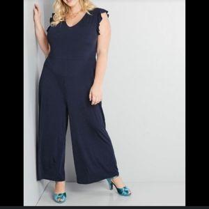 Modcloth Frilled Favorite Wide-Leg Jumpsuit